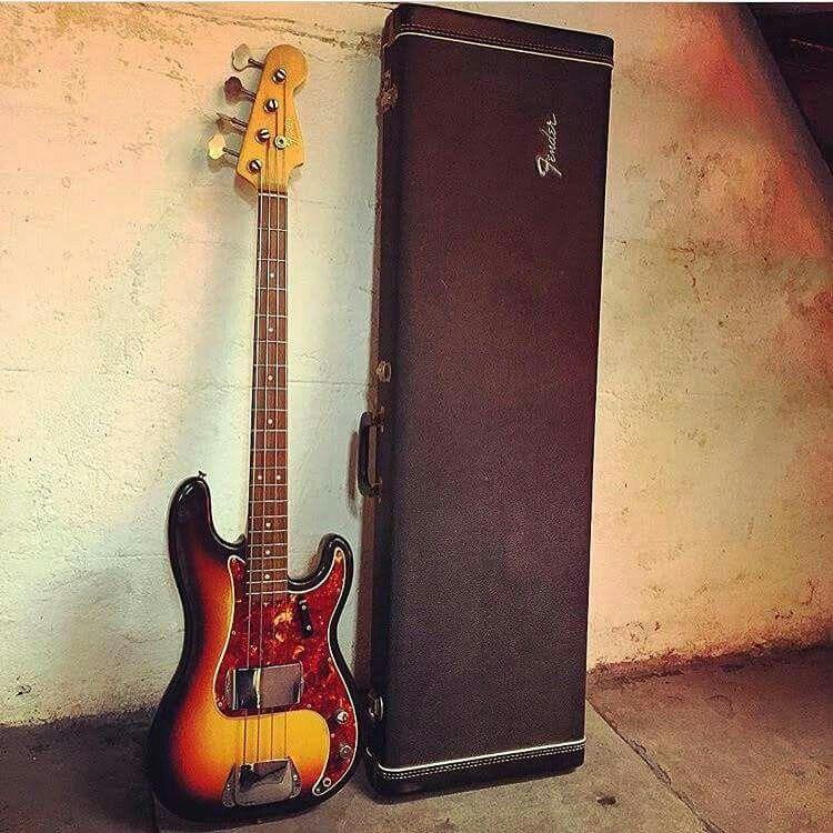 A 1966 Fender Precision Bass in sunburst.
