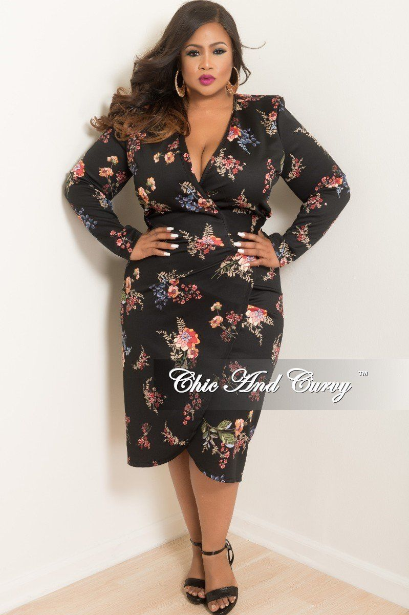 6d9e52a3 New Plus Size Wrap Dress in Black Floral Print in 2019 | Chic And ...