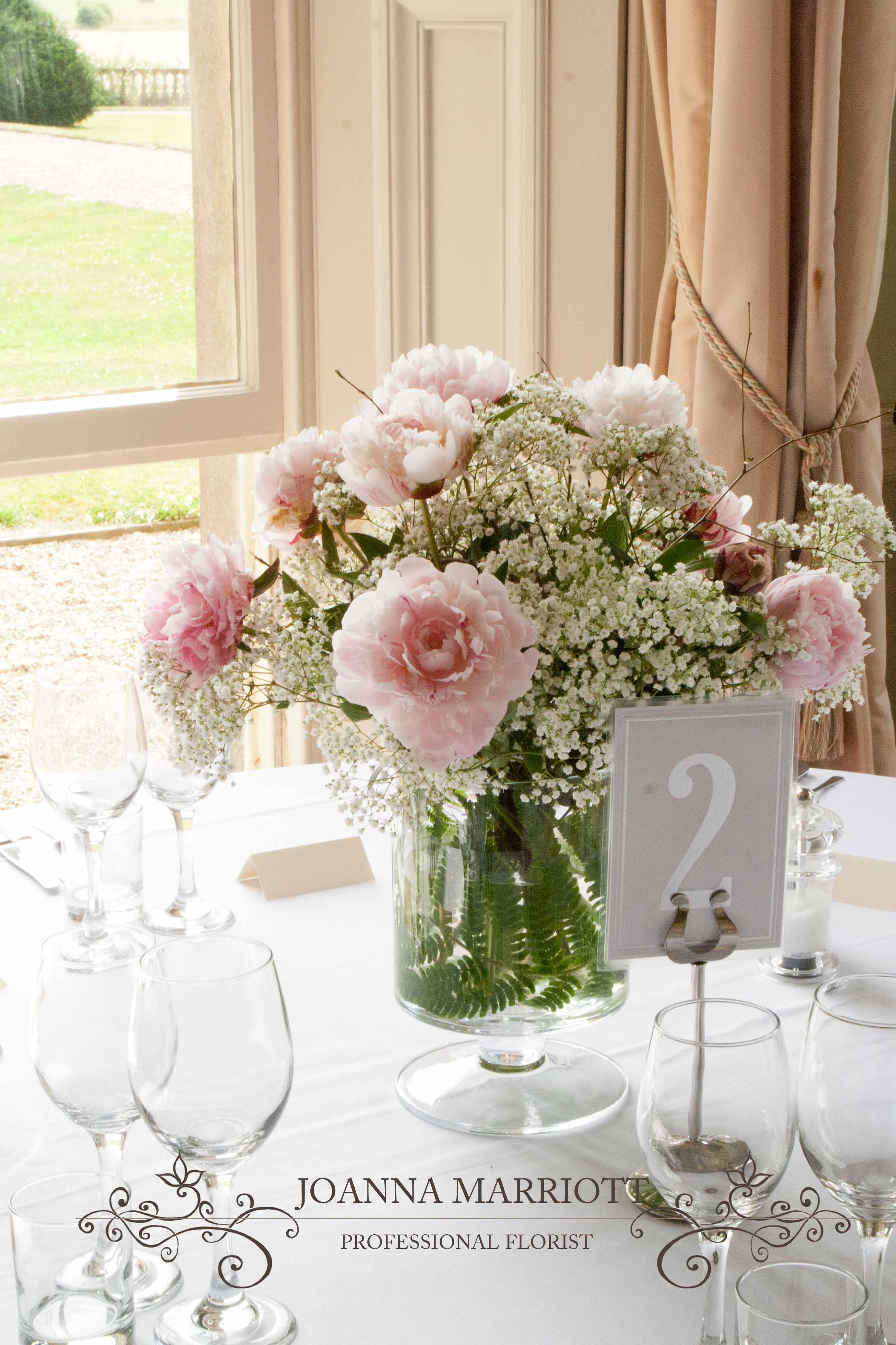 Pink Peonies And Gypsophila Table Arrangement Summer Wedding Pastel Colours
