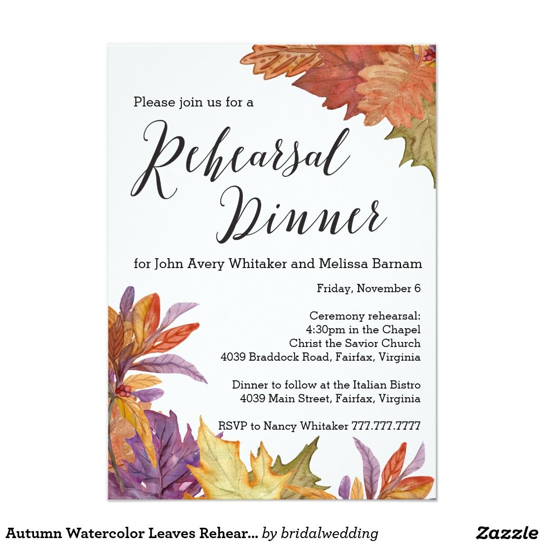 Autumn Watercolor Leaves Rehearsal Dinner Card Watercolor Leaves