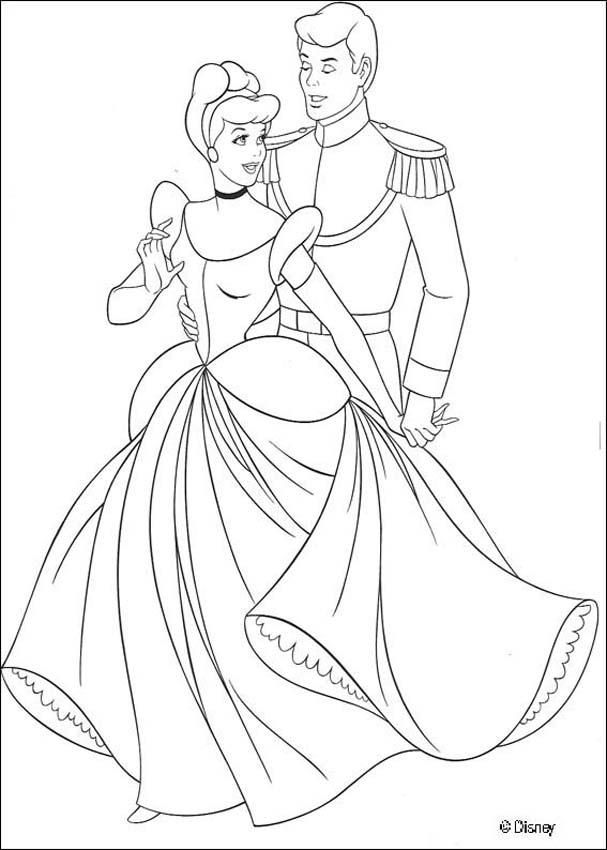 Cinderella And The Prince Coloring Page Malvorlage