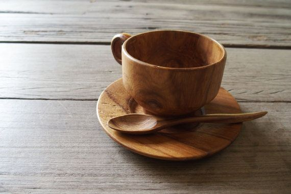Teak Wood Coffee Cup Tea Natural Grain Drink Nature With Our Handcrafted Wooden Set