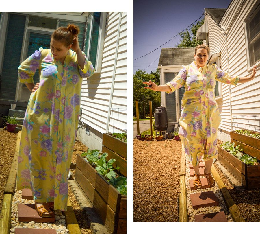 Vintage Hawaiian Muumuu Dress, Zip Up Muumuu House Coat, Full Length Tropical Caftan, Hibiscus Yellow Muumuu, Luau Summer Dress Tassel Moo by KLeighVintage on Etsy