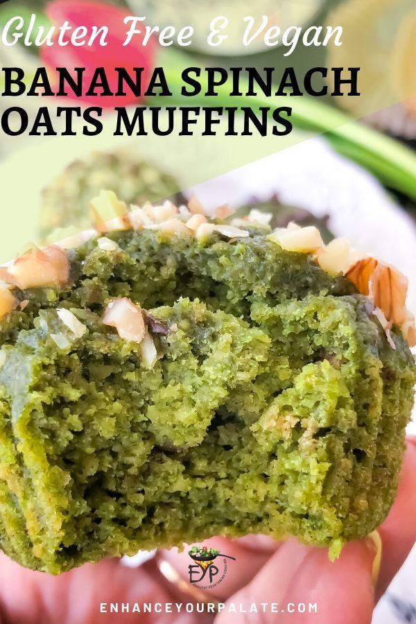 Gluten Free Vegan Banana Oats Spinach Muffins
