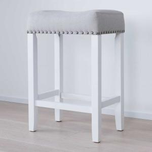 Hylie Nailhead 24 In White And Gray Cushioned Bar Stool White