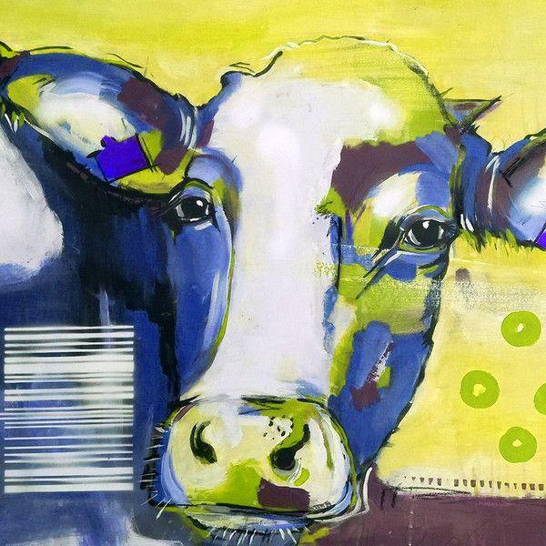 Kunstdruck Leinwand kuh in blau pop kunstdruck leinwand 75 cm kunstdrucke