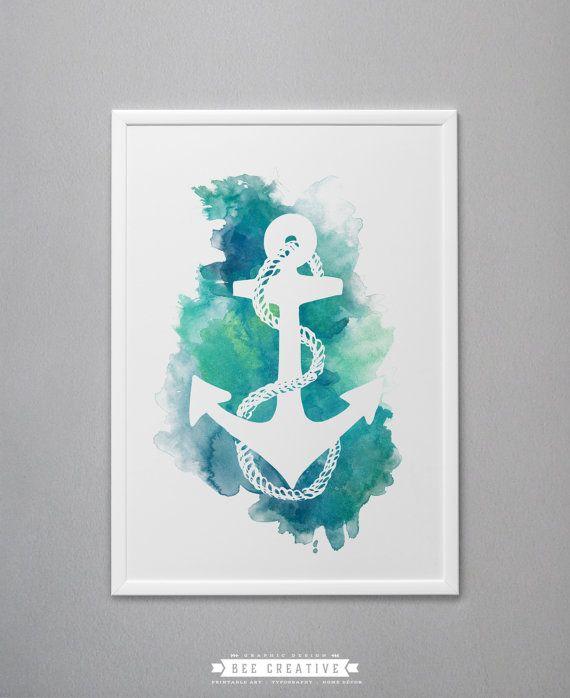 Anchor Nautical Art Anchor Print Anchor Decor Anchor Wall Etsy Anchor Wall Art Nautical Watercolor Nautical Art
