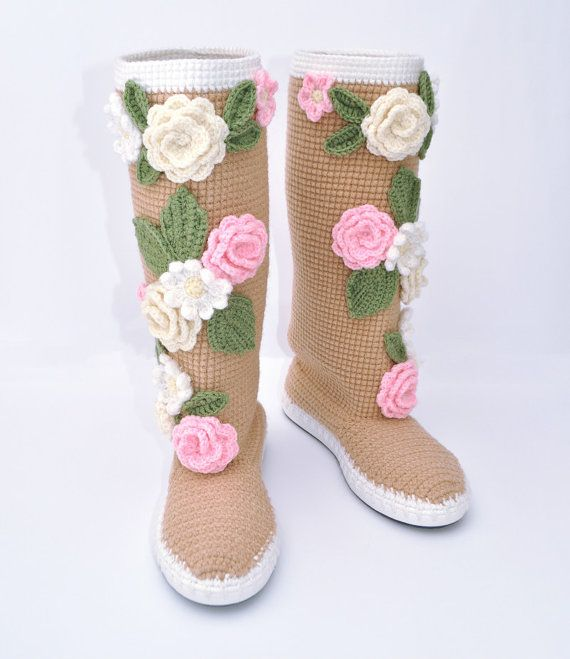 Crochet Boots for the Street Pastel Colors Folk by JoyForToes,