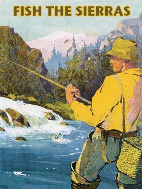 Fish Sierras Metal Sign,Salmon Fishing, Raging River, Snowy Mountain Retro Decor #OMSC #OutdoorSports