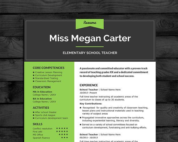 Professional Teacher Resume Template Pages Cover Letter - Business cards for teachers templates free