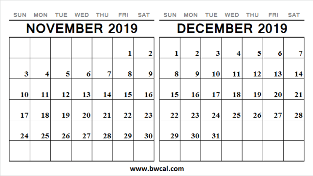 Calendar November December 2019 Cute Weekly 2019 Calendar Calendar December 2019 Calendar
