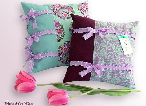 Happy Mother's Day: Big & Little Pillow Pair With Ruffly Ribbon Ties