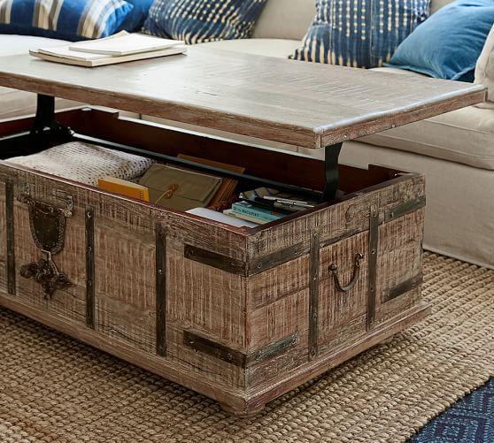 Kaplan Reclaimed Wood Lift Top Trunk Mediterranean Coffee Tables