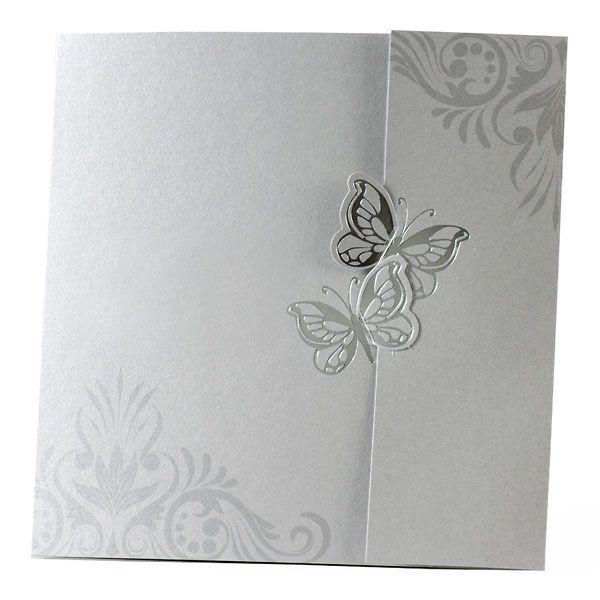Elegante Einladungskarte zur Hochzeit in Silber mit Schmetterlingen.