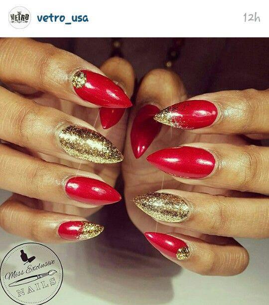 Christmas Nails Holiday Nails Winter Nails Red And Gold Glitter
