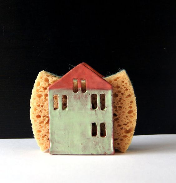 Sponge Holder-Napkin Holder-Ceramic House-Ceramics And Pottery-Ready To Ship: