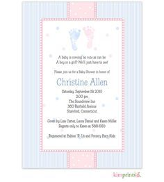 Pitter patter poem pitter patter baby shower baby shower pitter patter baby shower or gender reveal party invitation pink and blue foot prints with stripes and dots use any wording stopboris Choice Image