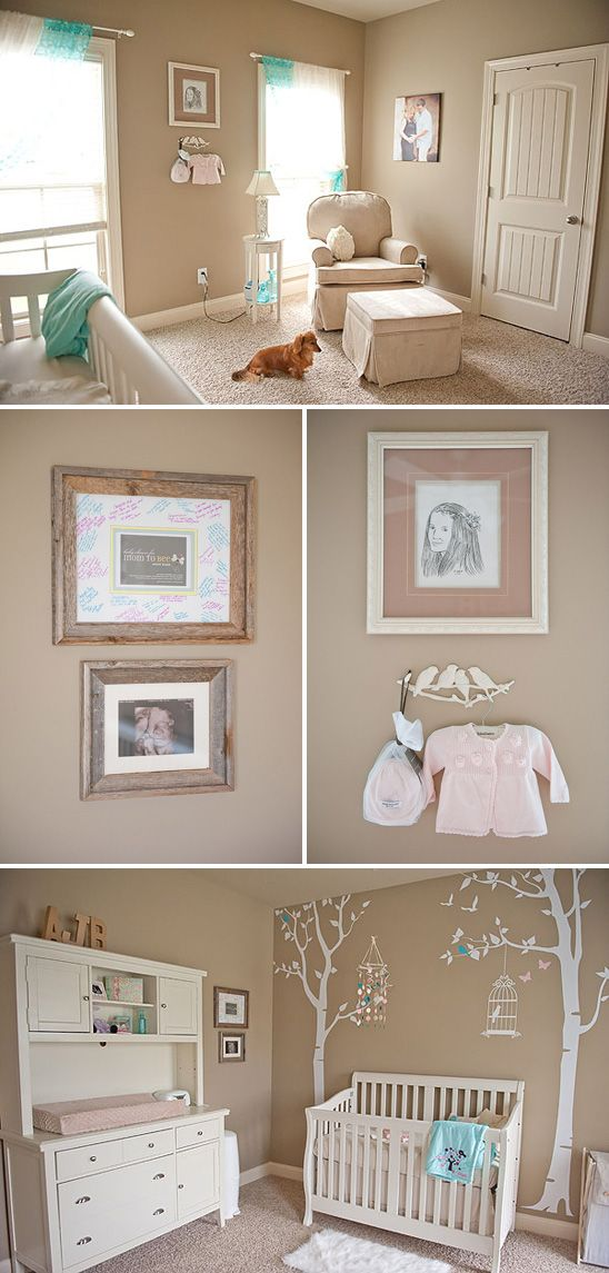 Soft, Serene Nursery with touches of Pink and Aqua   Baby girl ...