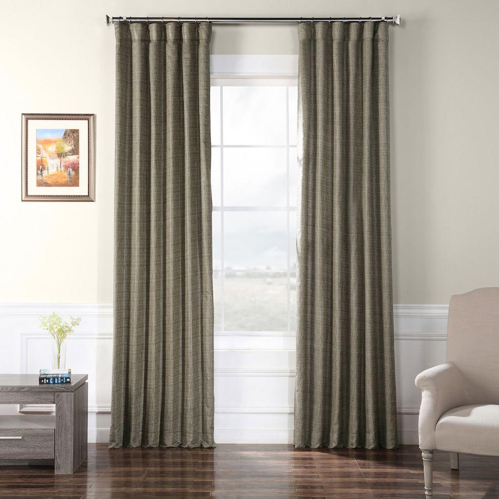 Eff Faux Raw Silk Window Curtain Black Faux Silk Curtains
