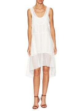 Cotton Dropped Waist High Low Dress from Dress Shop: Vacation Dresses on Gilt