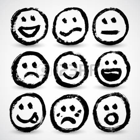 17031752-un-conjunto-de-iconos-de-dibujos-animados-grunge-caras-sonrientes.jpg…