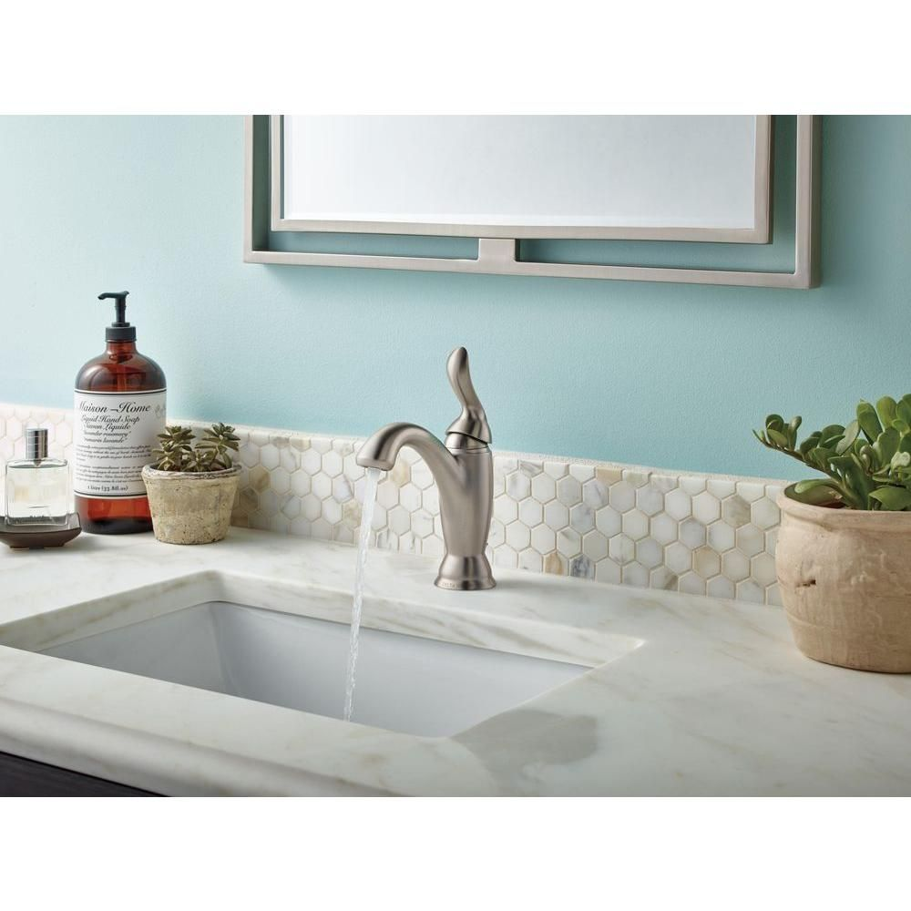 Delta Linden Single Hole Single-Handle Bathroom Faucet in Stainless ...