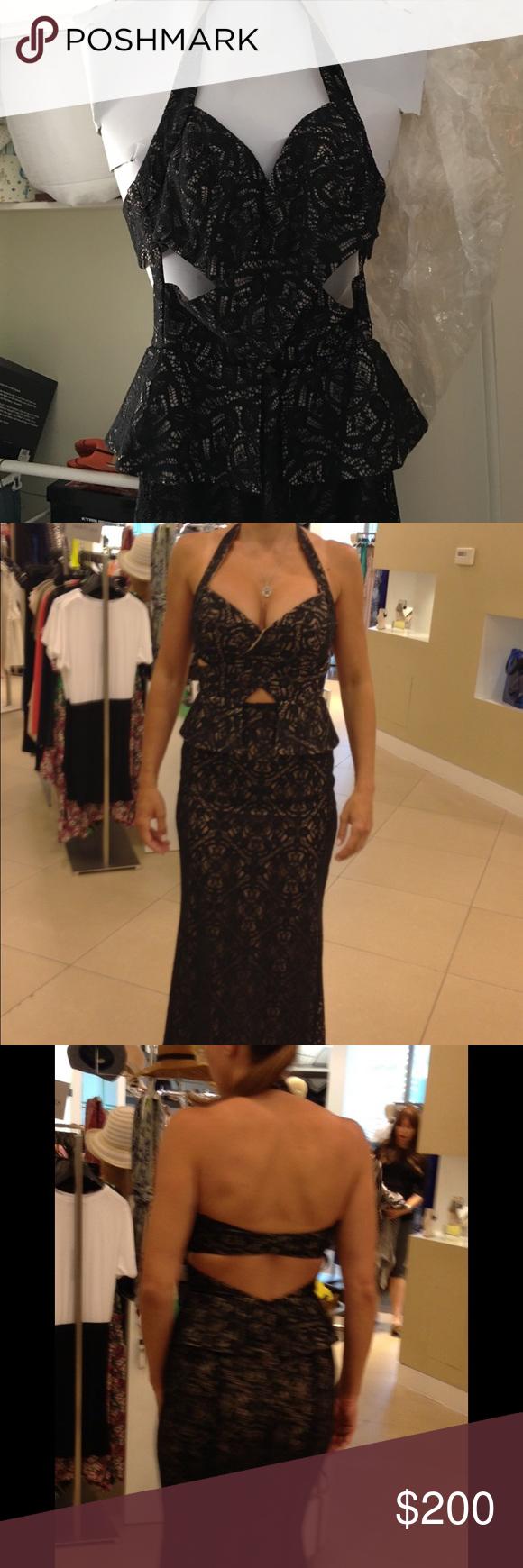 Bcbg black long dress long black lace dress halter neck and cut