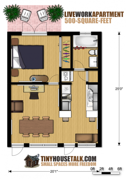 Small Apartment Design for Live/Work: 3D Floor Plan And Tour | Small ...