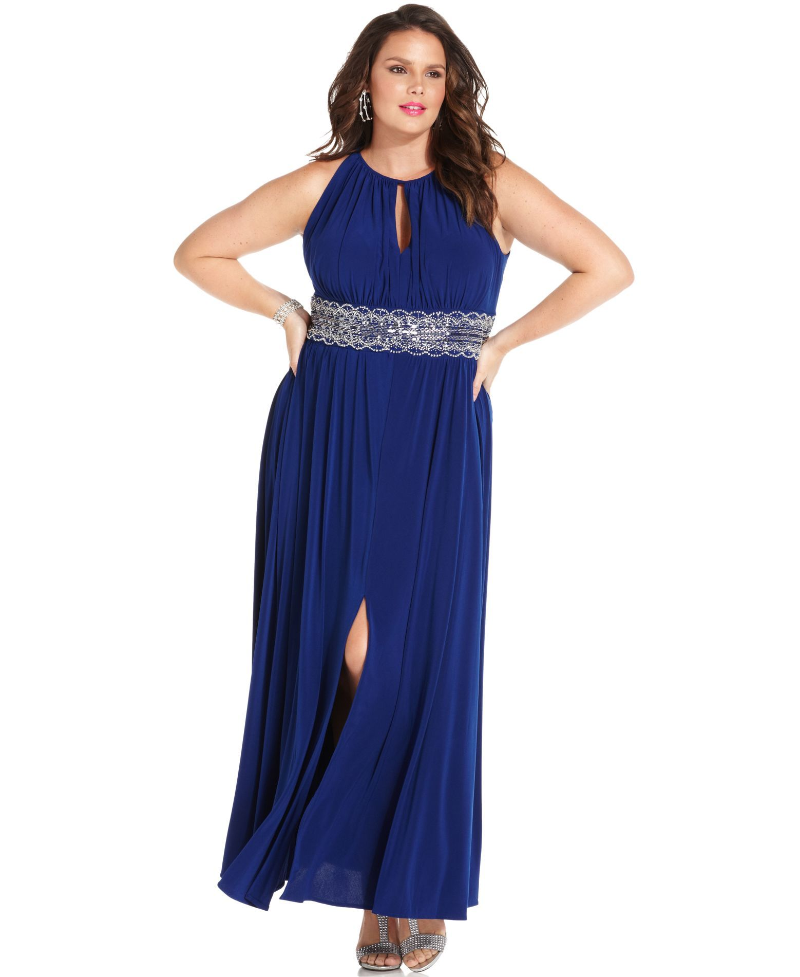 R Richards Plus Size Dress, Sleeveless Beaded Evening Gown ...
