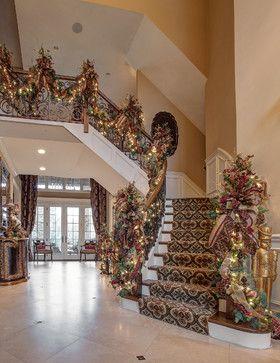 Ribbon Christmas Staircase Decorating Ideas 1 261 Garland Home Design Photos