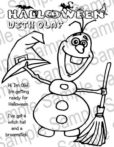 Printable Olaf Frozen Halloween Coloring Sheet By CustomizableArt HEPTEAM