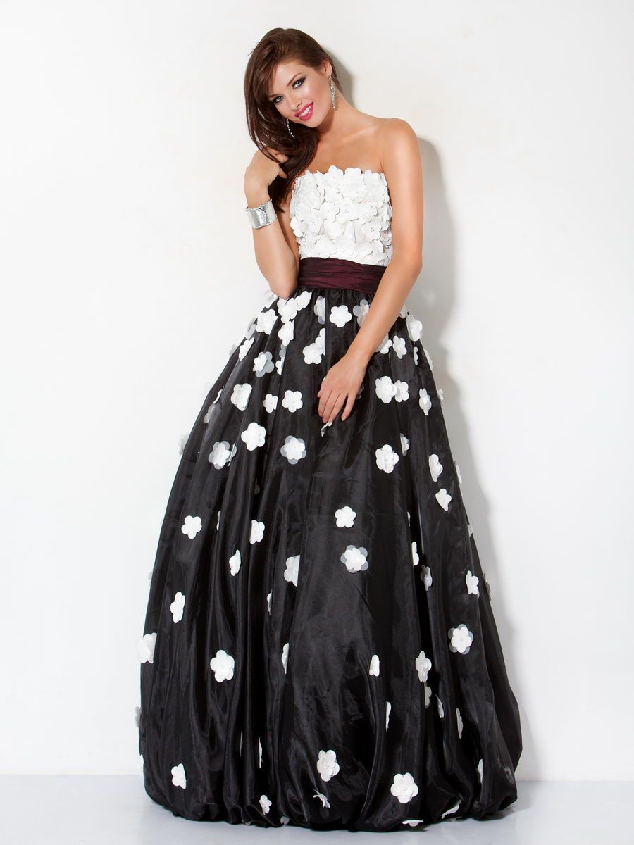 Black and white floral applique ballgown jovani style