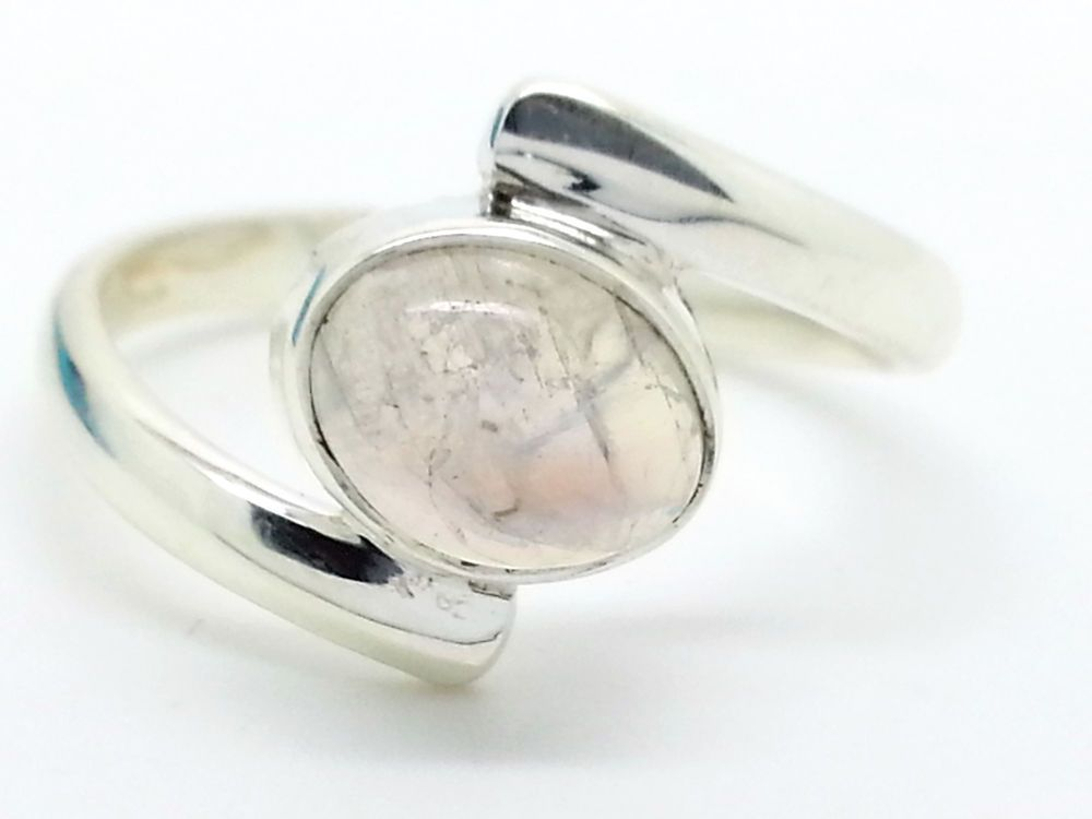 925 Sterling Silver & Oval Rainbow Moonstone Ring Size P, Q.5 (+ Gift Bag) UK