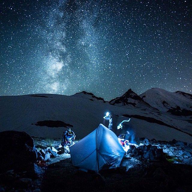 Camp on Summit Little Tahoma Peak to capture the beauty of a meteor shower and photograph Mont Rainier, Washington, USA  Photograph by: Luke Allen Humphrey [lukeallenhumphrey.com]