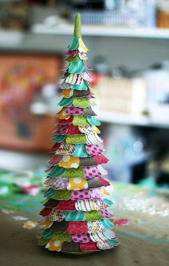 make a Christmas tree out of pretty scrapbook paper Super Saturday