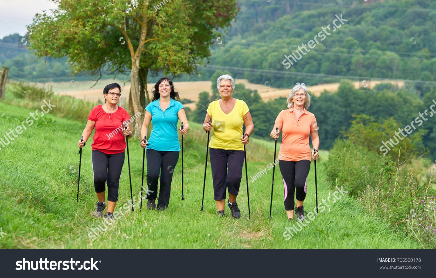 Sports Outside Nature Elderly Woman Nordic Royalty Free Image
