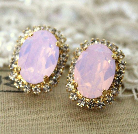 Pink blush Crystal big oval stud earring - 14k plated gold post earrings  real swarovski rhinestones 7ce5933279cc