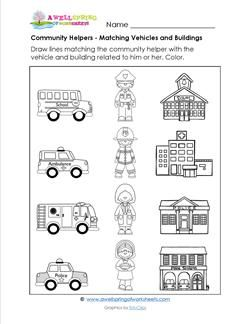 Community Helpers - Matching Vehicles & Buildings | community ...