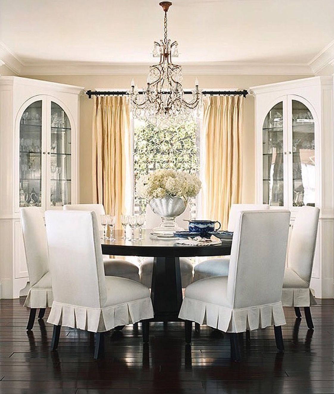 Curved Top Dining Room Chair Covers corner arched builtins flanking window but have open top no glass