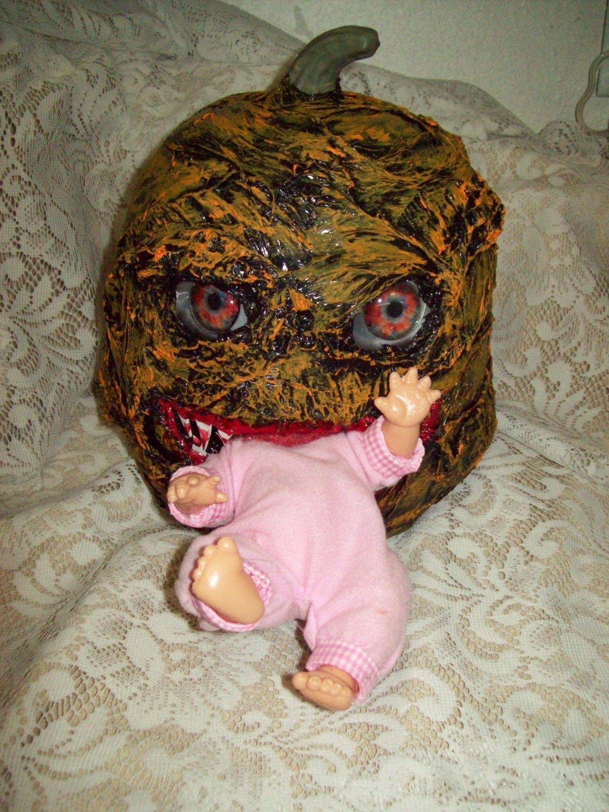 monster pumpkin eating baby halloween decor haunted house prop ebay - Halloween Decorations Ebay
