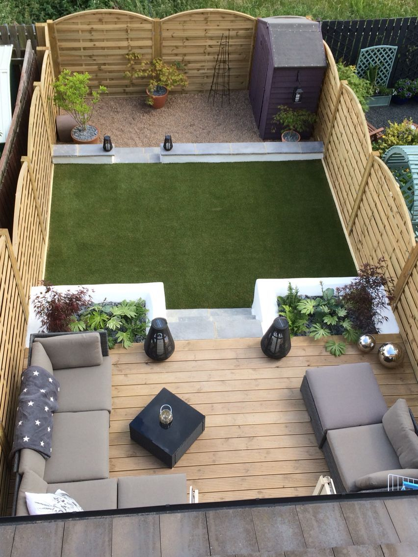 Photo of Decking, garden furniture and plant boxes #garden_patio_area