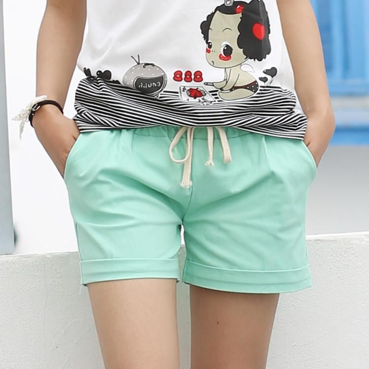 3b07929dfc65 2016 Summer Style Shorts Women Candy Color Elastic With Belt Short Women  A224
