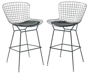 Magnificent Bertoia Style Bar Stools In Black Modern Bar Stools And Theyellowbook Wood Chair Design Ideas Theyellowbookinfo