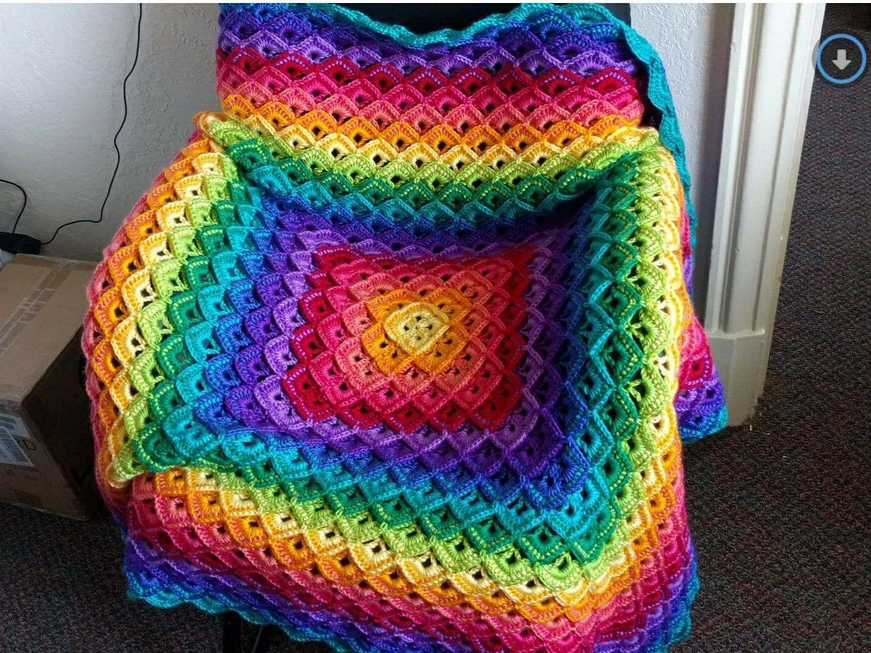 Some Kind Of Shell Blanket In Mandala Gnome Rainbow Blanket Yarn Bee Cozy Crochet Patterns