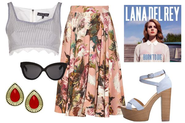 """3 #Lollapalooza #Outfits Made For Rocking #Refinery29 RAG & BONE BETTY EXCLUSIVE TOP, $220, AVAILABLE AT FARFETCH; DOLCE & GABBANA ROSE-PRINT CREPE CIRCLE SKIRT, $1,525, AVAILABLE AT NET-A-PORTER; LANA DEL REY """"BORN TO DIE"""" ALBUM, $9.99, AVAILABLE AT ITUNES; FOREVER 21 24-HOUR PLATFORM SANDALS, $32.80, AVAILABLE AT FOREVER 21; JILL ZARIN OXIDIZED BRASS RED FACETED STONE TEARDROP BUTTON EARRINGS, $25, AVAILABLE AT MACY'S; LINDA FARROW LUXE 38 BLACK SUNGLASSES, $730, AVAILABLE AT MONA MOORE."""