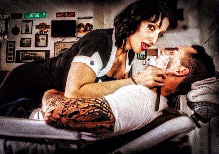 Shaving straight razor barber shop pinup old school tattoos ink girl guy rockabilly punk Betty page magazine love best friends