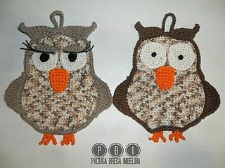 Owl Potholder Mr & Miss ~ free graph-pattern