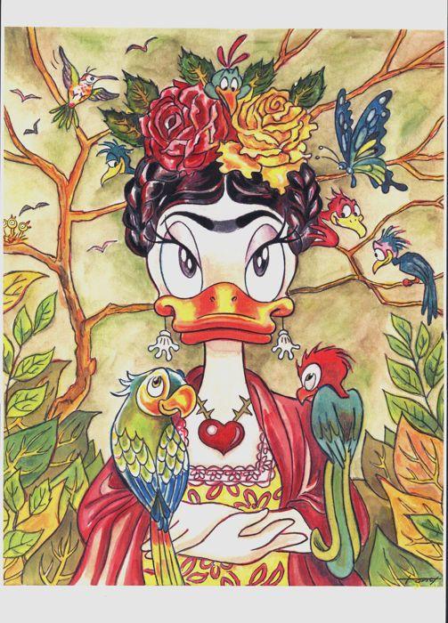 Fernandez, Tony - Original mixed media artwork - Daisy Duck inspired by Frida Kahlo - W.B.