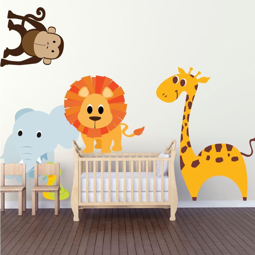 Nursery Zoo Wall Decal Animal Wall Decal Murals Primedecals Kids Room Wall Decals Animal Wall Decor Kids Wall Decals