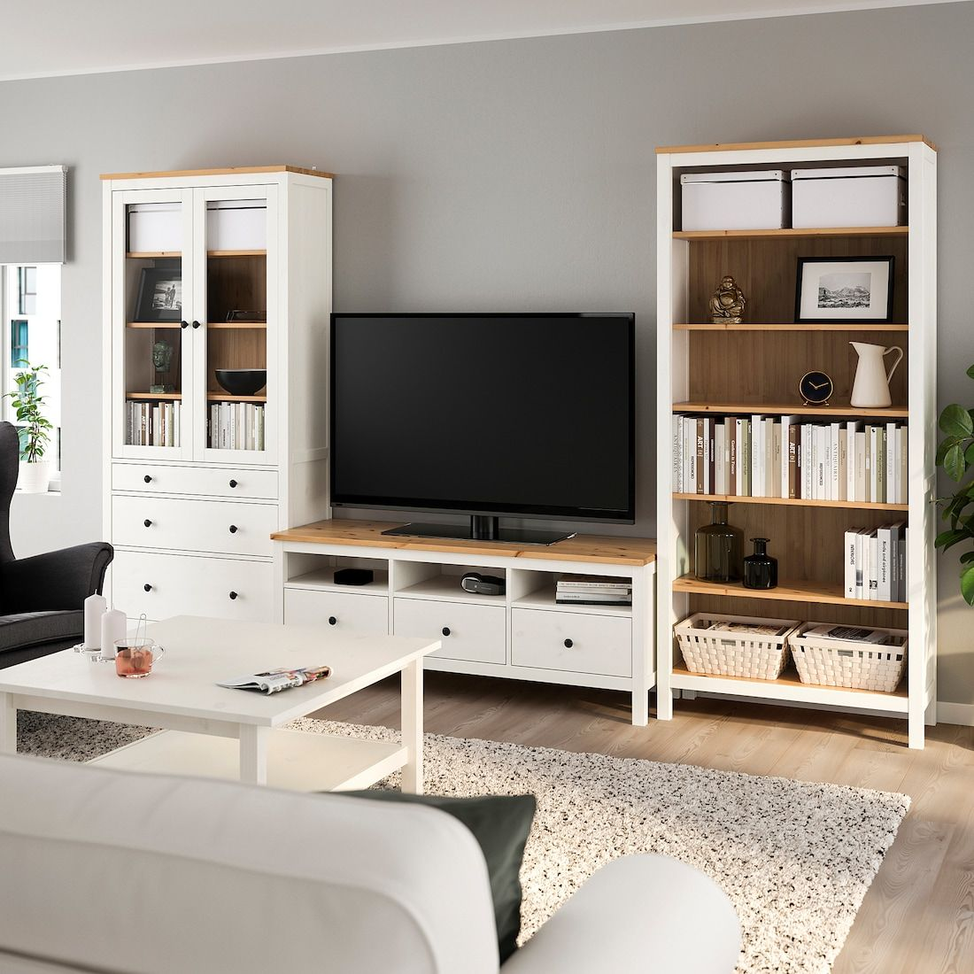 "HEMNES TV storage combination, white stain, light brown clear glass, 128 3/8x77 1/2"" - IKEA"
